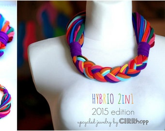 Upcycled HYBRIO scarf-necklace/Recycled purple/rainbow/Woman's/Handmade colorful/Repurposed material/Soft/Eco friendly/Jersey stripes