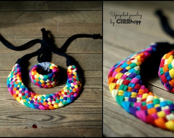 Upcycled collar necklace - rainbow/Recycled/ Woman's necklace/Handmade colorful/Repurposed material/Soft/Eco friendly/Jersey stripes