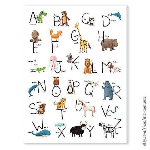 ABCedario imprimible con animales  Alfabeto archivo en pdf