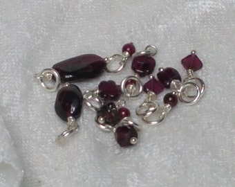 Tiny Garnet Charms - Wrapped in Sterling Silver - January Birthstone