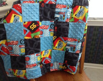 Childs quilt ,Car theme,great for car seat,Daycare nap,For Stroller ,crib ,to  snuggle with Soft minky and flannel