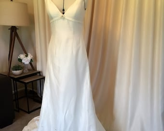 LAST ONE! Ivory Silk Couture Bridal Gown / Wedding Dress With Hand-Beaded Lace