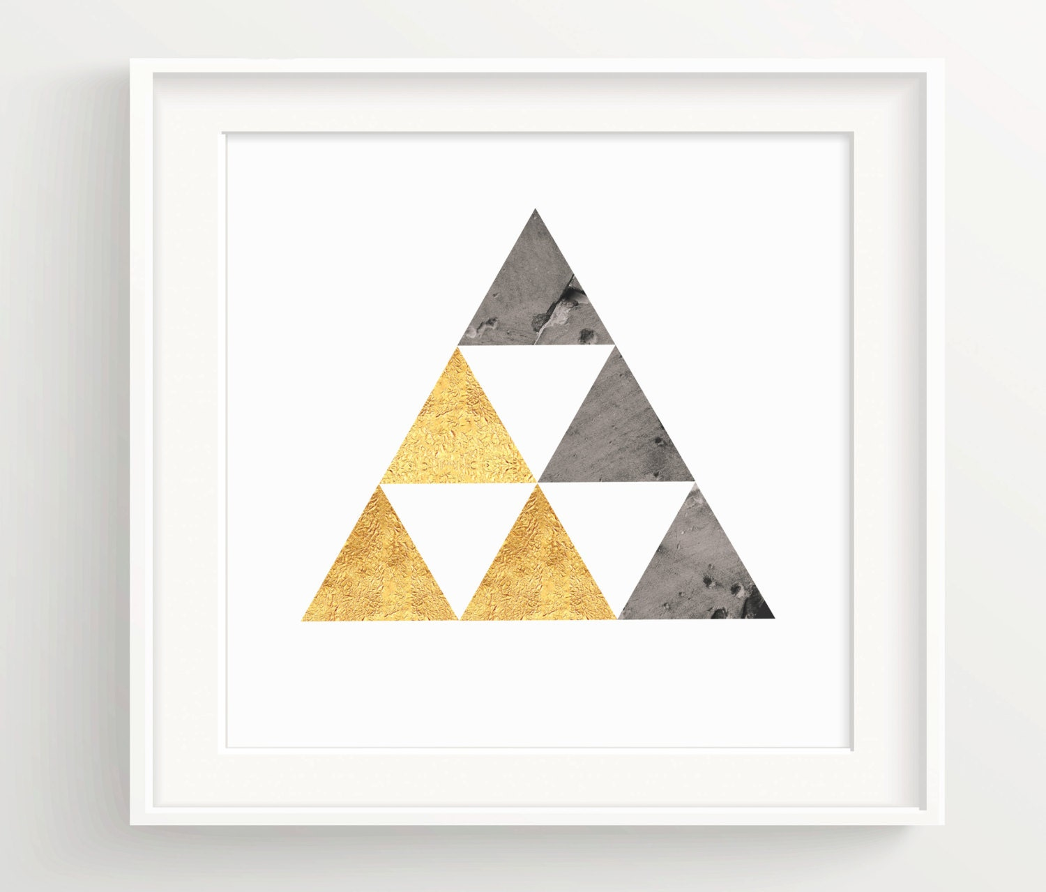 Black Gold Triangle Print Hipster Pyramid Wall Art