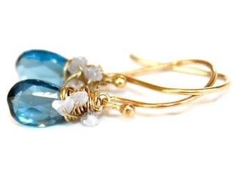 London Blue Topaz Earrings Rough Diamond Earrings Wire Wrapped Everyday Earrings Gemstone Jewelry December Birthstone