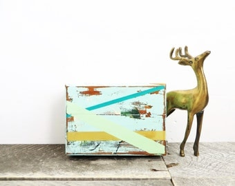 Rustic Modern Box - Mint Turquoise Gold - Jewelry Box - Modern Vintage Chic