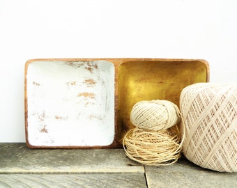 Divided Tray - Catchall - Gold and White Decor - Modern Chic - Get Organized