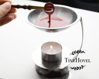 1pc Stainless Steel wax furnace with candle,The Bath Produce Sealing Wax, Heating Tool,wax melting tool