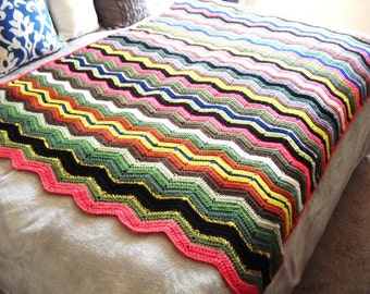 """Colorful hand crocheted vintage afghan, zig zag style-1980's, great colors, approx. 54"""" wide x 64"""" long"""