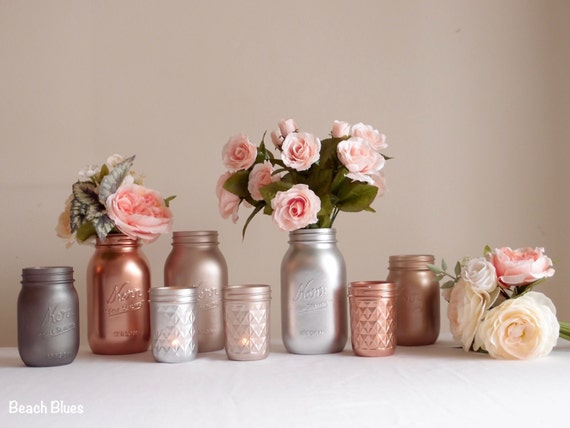 Blush rose gold wedding decor centerpiece metallic mason jars - Rosegold dekoration ...