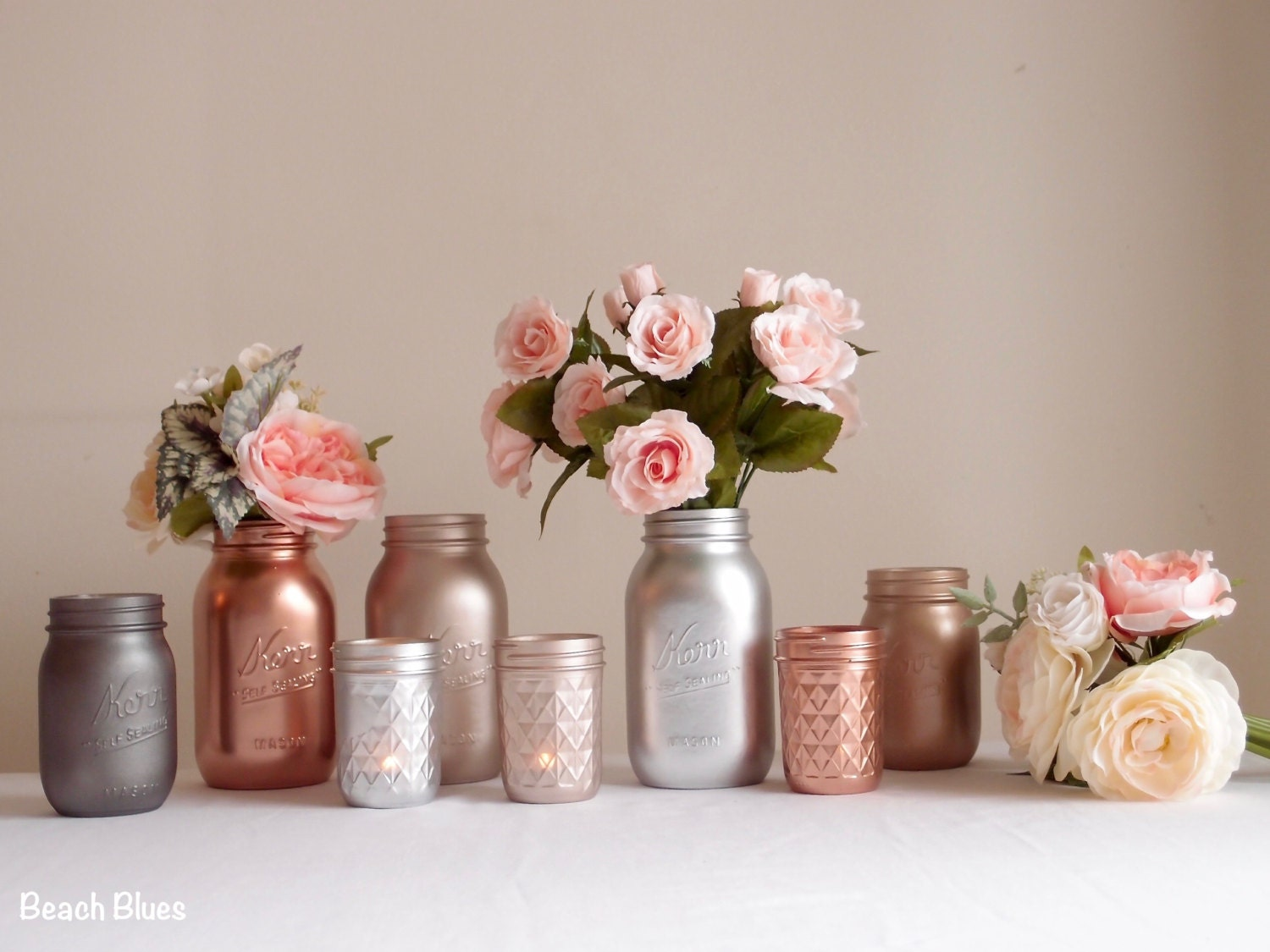 Blush Rose Gold Wedding Decor Centerpiece Metallic Mason Jars