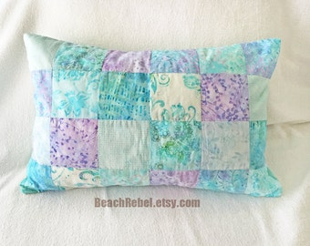 "Batik patchwork accent pillow cover in pastels aqua blues lavender 14""x20"""