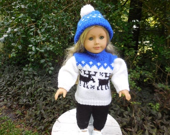 Hand knitted sweater, hat, and pants made to fit American Girl doll and other similar 18 inch dolls.
