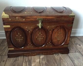 Vintage Brass Inlaid Rosewood Trunk