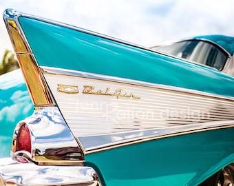"Car Photography, 57 Chevy, Chevrolet Bel Air Classic Car Aqua Blue Fin, Chevy Bel Air, Gift for Car Lover 8""x10"" Photograph Print"