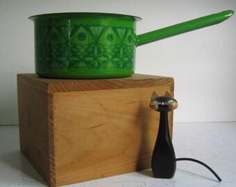Vintage Enamelware Saucepan, Danish Modern Green Fish, Arabia, Finel, Kaj Franck