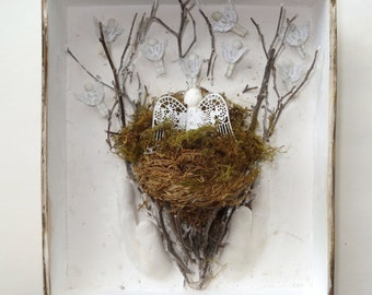 Mixed Media Antique Doll Mother Angel Bird Babies Flying the Nest Shadowbox Assemblage Wall decor
