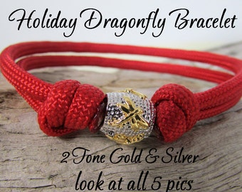 Dragonfly Paracord Bracelet - Gold & Silver Dragonfly Bead - Choose Red or Burgundy Paracord - Dragonfly Jewelry - Great Holiday Bracelet