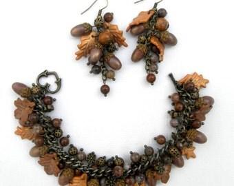 Acorn Jewelry Fall Jewelry Fall Leaves Acorn Bracelet Acorn Earrings Autumn Jewelry Gift For Her Bracelet Earrings Handmade Jewelry Acorns