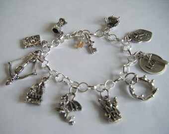 MERLIN bbc tv Series King Arthur Camelot Traditional Charm Bracelet Hand Made in the UK Magic Spells Castle England Throne Druids Crown