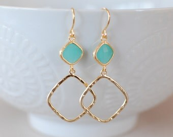 The Sophie Earrings -  Mint/Gold