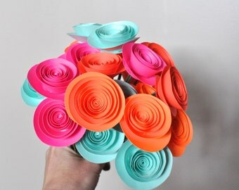 30 Bright Paper Flowers on Stems- Bouquet of Paper Flowers-  Spring Bouquet
