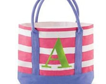 Kids Initial Stripe Jute Tote Bags/Personalized/Gift
