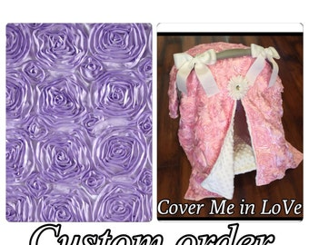 Lavender rosette and white minky Car seat canopy and seat cover set you choose items