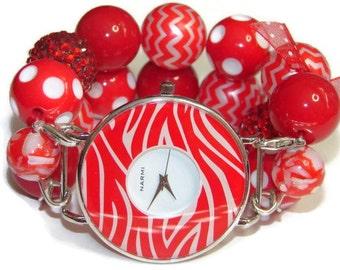 Fun Chunky Beaded Watch - Interchangeable Watch - Chunky Apple Watch Band  - Red Watch - Valentine Gift - Chunky Bracelet Watch - Zebra Face