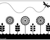 SPRING GARDEN by  CRAFTS Too !!    Embossing Folder A2  - Rare Item !! IMPORTeD - Dragonfly FLowers