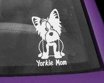 Yorkie Mom Cartoon Vinyl Decal