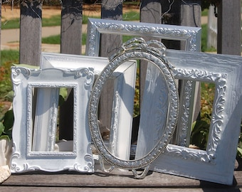 PICTURE FRAMES - Shabby Chic Frames - Painted Frames - Set Of 5  Picture Frames