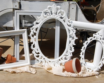 Picture Frame Set - Set Of 5 White Shabby Chic Frames - Ornate Frames - Custom Frames