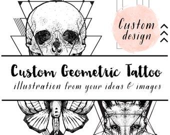 custom geometric illustration - design your own temporary tattoo - artist customized illustration