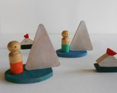 Wood toddler sailing boats, surf boards, paddleboards, surfers, sailors, boat race pretend play toy set