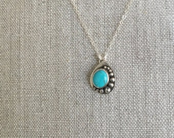 Silver and Turquoise Necklace - Kingman Turquoise