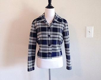 Vintage Mid Century Blue Plaid Jacket