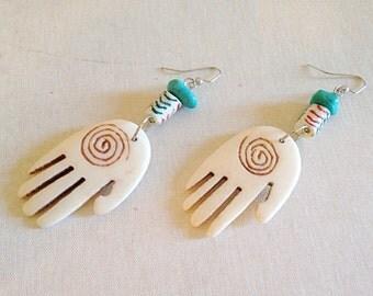 Hand of Hamsa Carved Bone and African Trade Bead Earrings Tribal Bho
