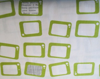 Reel Time  Chalk Chartreuse yardage designed by Zen Chic for Moda in lime and black 1 yard