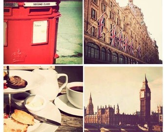 London photography, set of 4 photographs, square photo prints, London photographs, sale, discounted set, vintage - London in Red