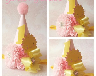 You are my Sunshine Party Hat,1stBirthday Party Hat,Pink Party Hat,Pink and yellow Birthday Hat,Girls Princess Party Hat