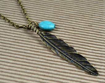 Large Bohemian Feather Necklace Turquoise Boho Chic Southwestern Native American Antique Bronze Pendant Jewelry Layering FREE Shipping