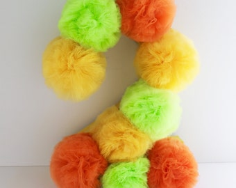 "Birthday Numbers,  Pom Pom Numbers for Birthday Party, 12"", Any Color(s)"