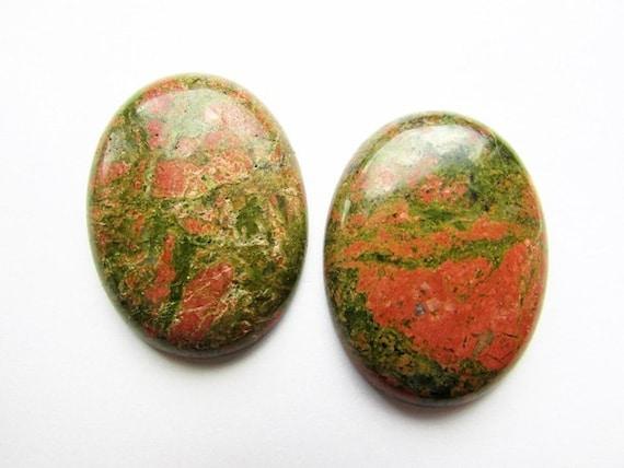 Natural Unakite Cabochon 40 X 30 Mm Natural Stone Cabochon