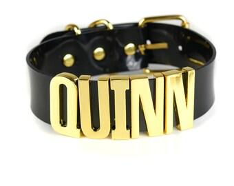 """Harley Quinn """"QUINN"""" Choker   Cosplay   Puddin Choker   Batman   Joker   Halloween Costume   Harley Quinn Choker   BIG Letters - Gold"""