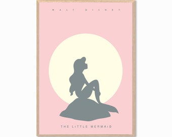 DISNEY | The Little Mermaid Poster : Modern Illustration  Retro Art Wall Decor Print