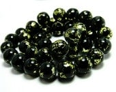 20 Black and Gold Beads, 10mm Beads, Drawbench Beads, Round Glass Beads, Metallic Gold and Black