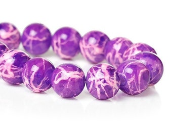 40 White and Purple Beads • 10mm Beads • Glass Beads • Round Beads • Drawbench Beads • Marbled Beads