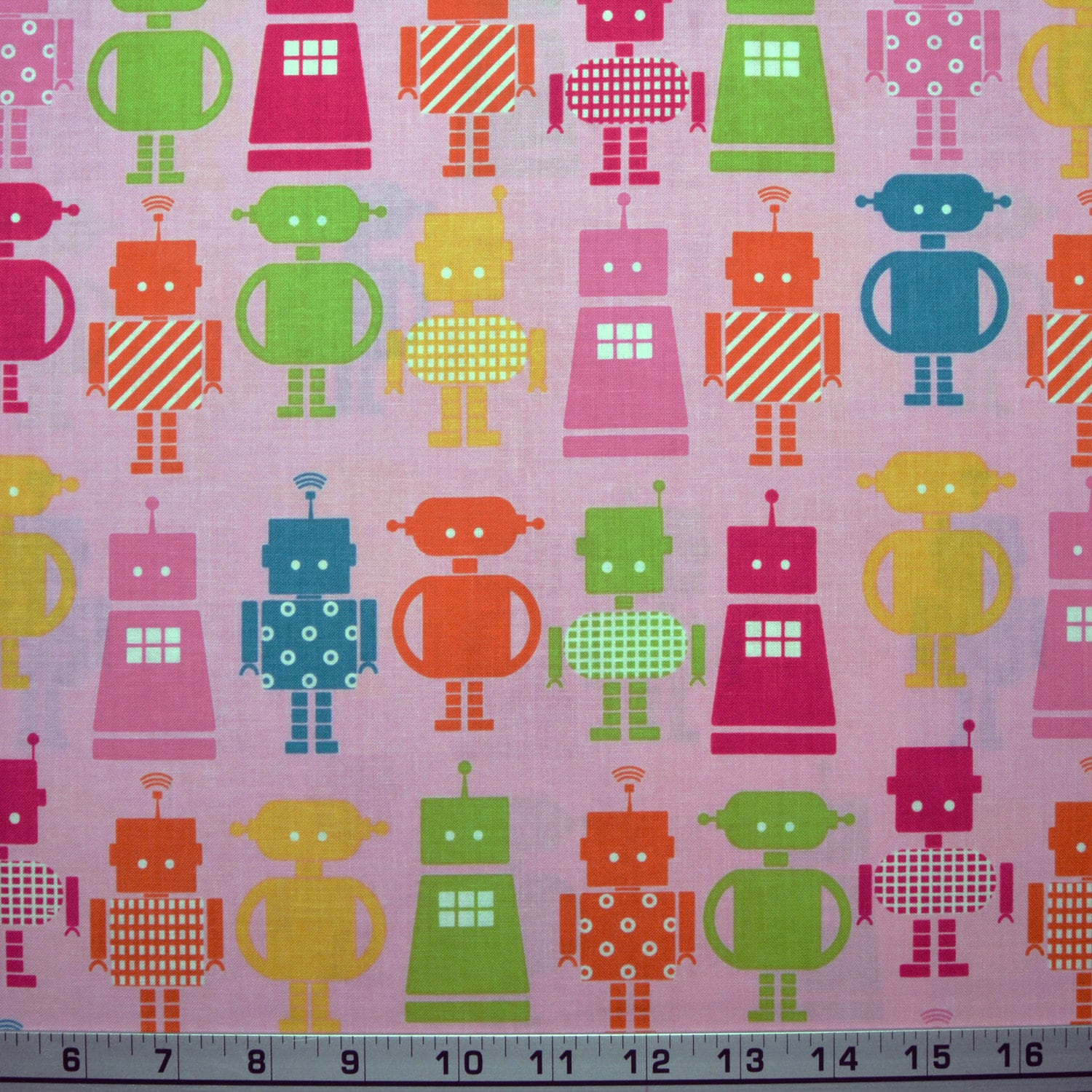 Robert kaufman fabric funbots robots on pink quilting sewing for Robot quilt fabric