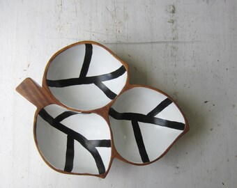 Vintage Divided Leaf Shaped Wood Bowl with Hand Painted Black and White Stripes - Monkey Pod Wood - Vintage Modern Home Decor