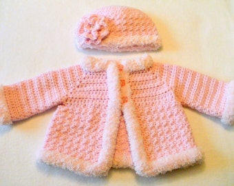 Crocheted Baby Girl's Sweater and Hat Set Crocheted Baby Jacket Baby Girl's Crocheted Sweater Pink Baby Sweater and hat with Pink Furry Trim